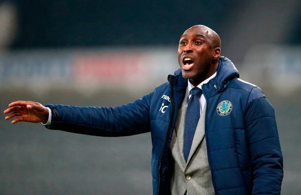 NEWCASTLE UPON TYNE, ENGLAND - DECEMBER 04: Sol Campbell, Manager of Macclesfield Town reacts during the Checkatrade trophy match between Newcastle United U23 and Macclesfield Town at St. James Park on December 4, 2018 in Newcastle upon Tyne, England. (Photo by Jan Kruger/Getty Images)