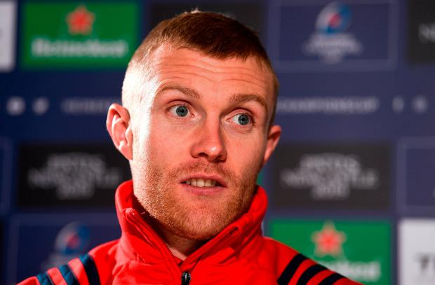 Keith Earls during a Munster Rugby press conference at the University of Limerick. Photo: Diarmuid Greene/Sportsfile