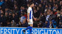 Ireland international Shane Duffy was sent off during Brighton's Premier League clash with Crystal Palace