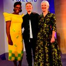 2018 Turner Prize winner Charlotte Prodger (centre) with Chimamanda Ngozi Adichie (left) and Tate director Maria Balshaw during the award ceremony at Tate Britain in London. PRESS ASSOCIATION Photo. Picture date: Tuesday December 4, 2018. See PA story ARTS Turner. Photo credit should read: Victoria Jones/PA Wire