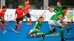 Alan Sothern celebrates after scoring Ireland's equalising goal against China during yesterday's Hockey World Cup clash in Bhubaneswar, India. Photo: AFP/Getty Images