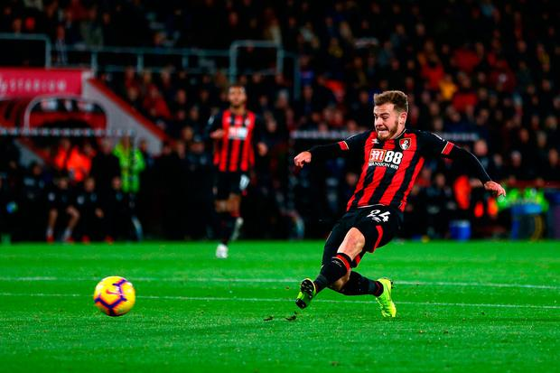 Ryan Fraser of AFC Bournemouth scores his team's second goal. Photo: Jordan Mansfield/Getty Images