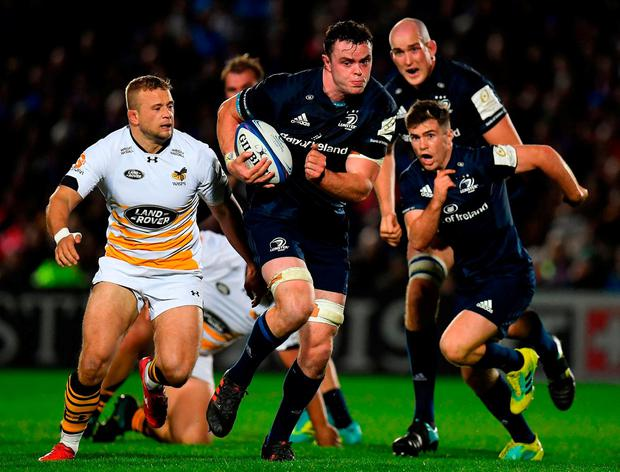 James Ryan on the charge against Wasps in their Champions Cup game which Leinster dominated with 71pc possession and 75pc territory. Photo: Brendan Moran/Sportsfile