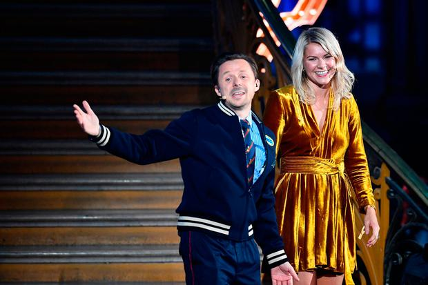 Ada Hegerberg seems to see the funny side as she is interviewed by Martin Solveig after being presented with the women's Ballon d'Or. Photo: AFP/Getty Images