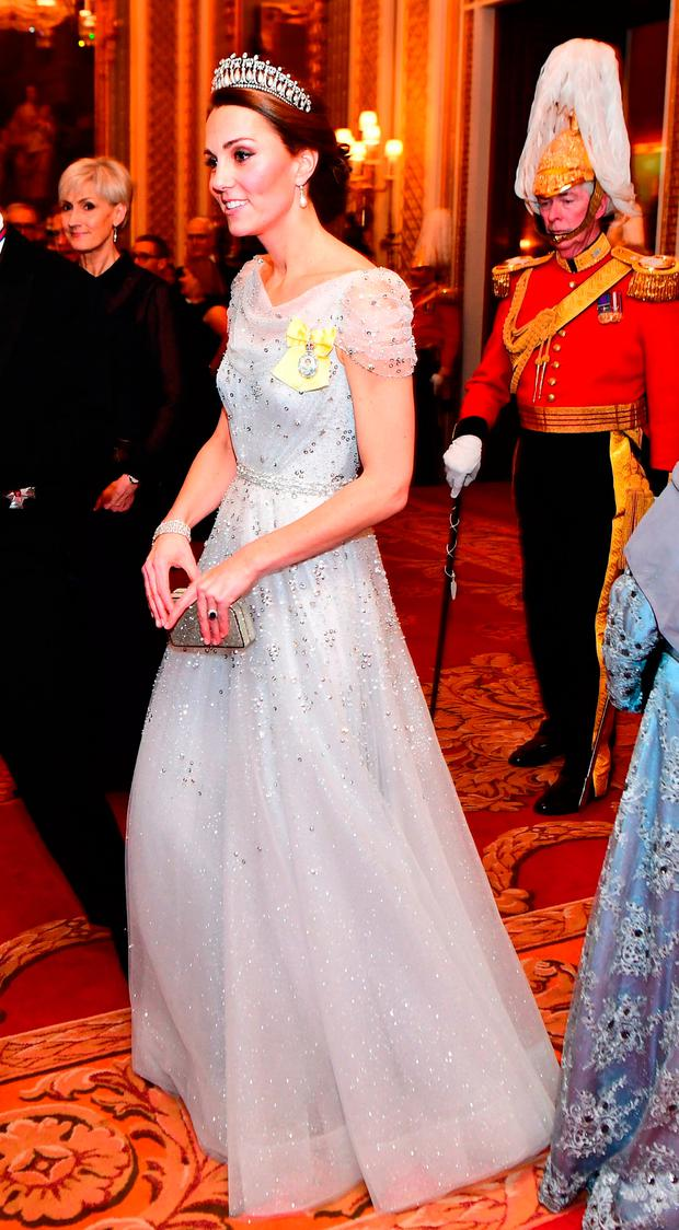 The Duchess of Cambridge attends an evening reception for members of the Diplomatic Corps at Buckingham Palace in London