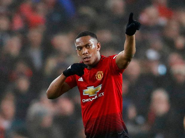 Soccer Football - Premier League - Manchester United v Arsenal - Old Trafford, Manchester, Britain - December 5, 2018 Manchester United's Anthony Martial celebrates scoring their first goal REUTERS/Darren Staples