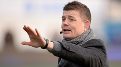 16 January 2016; BT Sport Pundit Brian O'Driscoll pitch side ahead of the match. European Rugby Champions Cup, Pool 1, Round 5, Saracens v Ulster. Allianz Park, London, England. Picture credit: Seb Daly / SPORTSFILE