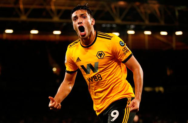 Soccer Football - Premier League - Wolverhampton Wanderers v Chelsea - Molineux Stadium, Wolverhampton, Britain - December 5, 2018 Wolverhampton Wanderers' Raul Jimenez celebrates scoring their first goal Action Images via Reuters/Andrew Boyers