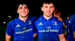 Jimmy O'Brien (left) and Hugo Keenan are among the young Leinster players making the most of their chance to step up on to the big stage. Photo by Ramsey Cardy/Sportsfile