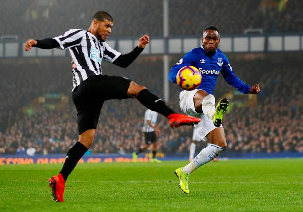 Soccer Football - Premier League - Everton v Newcastle United - Goodison Park, Liverpool, Britain - December 5, 2018 Everton's Ademola Lookman in action with Newcastle United's DeAndre Yedlin Action Images via Reuters/Jason Cairnduff
