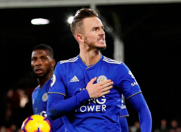Soccer Football - Premier League - Fulham v Leicester City - Craven Cottage, London, Britain - December 5, 2018 Leicester City's James Maddison celebrates scoring their first goal REUTERS/David Klein