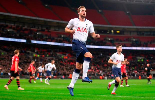 Tottenham Hotspur's Harry Kane celebrates scoring his side's first goal of the game during the Premier League match at Wembley Stadium, London. PRESS ASSOCIATION Photo. Picture date: Wednesday December 5, 2018. See PA story SOCCER Tottenham. Photo credit should read: Adam Davy/PA Wire.