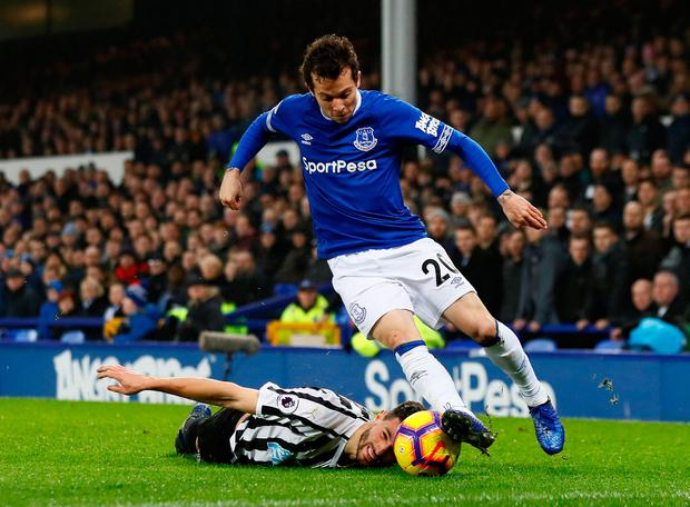 Everton's Bernard in action with Newcastle United's Fabian Schar. Photo: Reuters/Jason Cairnduff
