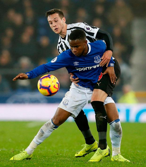 Everton's Ademola Lookman in action with Newcastle United's Javier Manquillo. Photo: Reuters/Andrew Yates