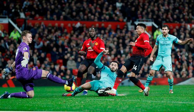 Manchester United's Jesse Lingard scores their second goal. Photo: Darren Staples/Reuters