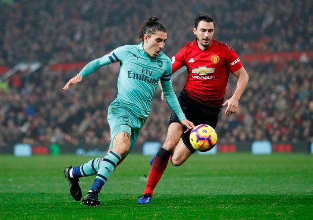 Arsenal's Hector Bellerin in action with Manchester United's Matteo Darmian. Photo: Carl Recine/Action Images via Reuters
