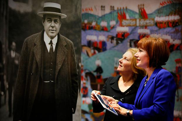 History: Minister Josepha Madigan pictured with Fionnuala Croke, Director of the Chester Beatty Museum, beside a photograph of Chester Beatty at the launch of the Chester Beatty website. Photo: Gerry Mooney