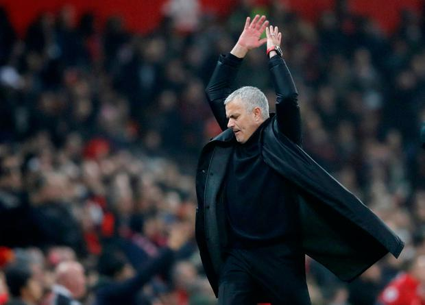 Soccer Football - Premier League - Manchester United v Arsenal - Old Trafford, Manchester, Britain - December 5, 2018 Manchester United manager Jose Mourinho reacts Action Images via Reuters/Carl Recine.