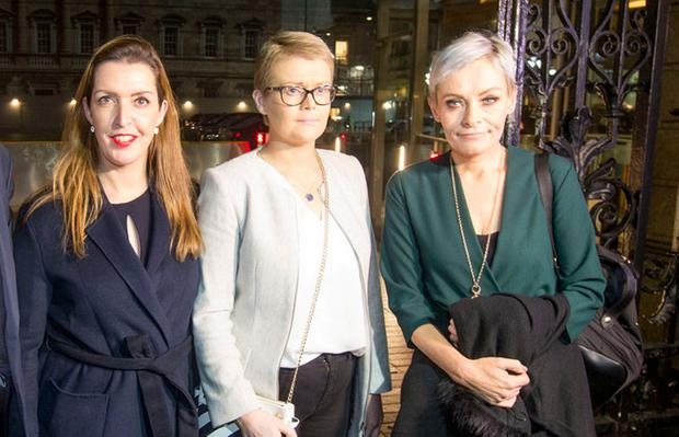 Making their voices heard: Cervical cancer sufferers Vicky Phelan, Tracey Brennan and Áine Morgan at the Dáil yesterday. Photo: Colin O'Riordan