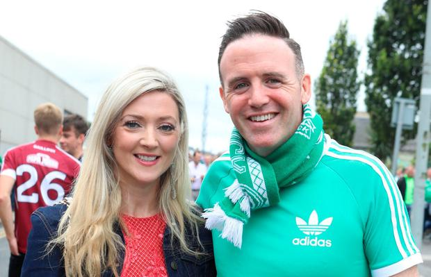 Tom Neville with his fiancée, 'Fair City' actress Jenny Dixon. Photo: Paddy Cummins/IrishPhotoDesk.ie