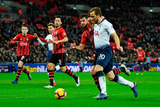 Tottenham's Harry Kane in action with Southampton's Jack Stephens. Photo: Dylan Martinez/Reuters