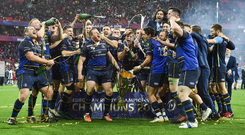 12 May 2018; The Leinster team celebrate with the cup after the European Rugby Champions Cup Final match between Leinster and Racing 92 at the San Mames Stadium in Bilbao, Spain. SPORTSFILE.