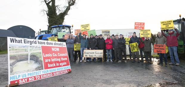 The R.T.S. (Ratheniska, Timahoe, Spink & Surrounding Areas) Substation Action Group 162 day blockade of Eirgrid site esculates at Esker, Timahoe, Co. Laois Monday 3 December 2018.