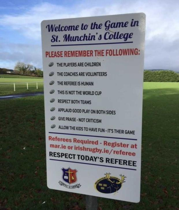 Signs have been erected at the St Munchin's grounds calling on spectators to show respect to players, coaches and referees.