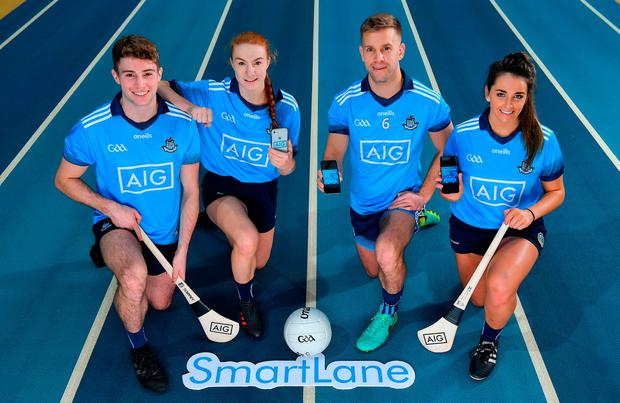Dublin players, from left, Jake Malone, Lauren Magee, Jonny Cooper and Ali Twomey were at the National Sports Campus at yesterday's launch of AIG's SmartLane driving app. Photo: Brendan Moran/Sportsfile