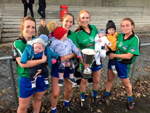 The mothers of Emmet Óg: Michaela Newell (with her 13-week old baby), Marian McCarville (with her 12-month old), Charlotte McMenamin (with her four-week old) and Anita Newell (holding Charlotte's two- year-old). Photo: Jerome Quinn