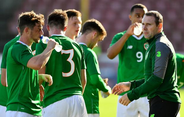 Republic of Ireland's U-19 manager Tom Mohan talks to his players during their European Championship qualifier against Bosnia & Herzegovina. Photo: Seb Daly/Sportsfile