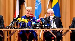 Swedish Foreign Minister Margot Wallstrom and UN envoy to Yemen Martin Griffiths attend the opening press conference on UN sponsored peace talks for Yemen. Stina Stjernkvist /TT News Agency/via REUTERS