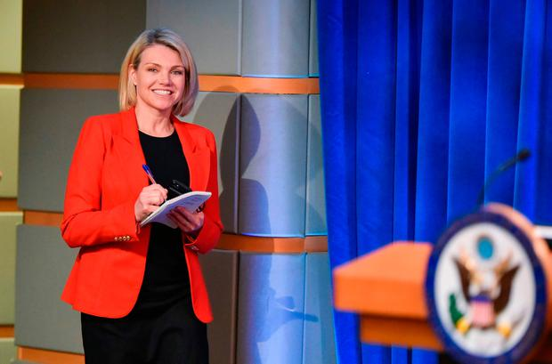 In this file photo US State Department spokesperson Heather Nauert arrives for the release of the 2017 Annual Report on International Religious Freedom Photo by Mandel Ngan Getty Images