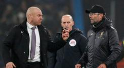 Burnley manager Sean Dyche and Liverpool manager Jurgen Klopp clash after the match on Wednesday. REUTERS/Scott Heppell