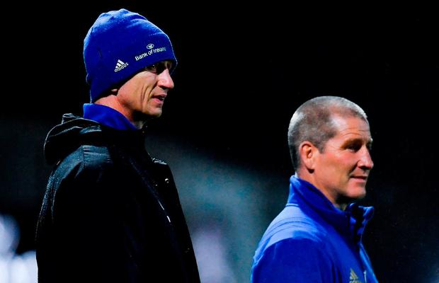 Leinster head coach Leo Cullen, left, and senior coach Stuart Lancaster ahead of the Guinness PRO14 Round 10 match between Dragons and Leinster at Rodney Parade in Newport, Wales. Photo by Ramsey Cardy/Sportsfile