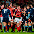 Flashpoint: Munster players including Alan Quinlan clash with Castres during their tempestuous clash in 2004. Photo: Damien Eagers/Sportsfile