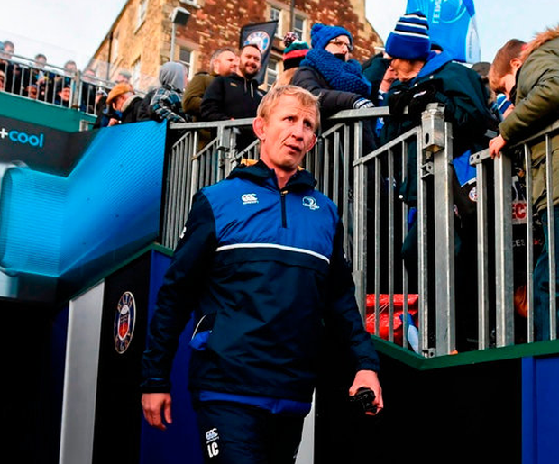 Leo Cullen walks out at The Rec for what proved to be a steep learning curve for head coach in their 2015 defeat to Bath. Photo: Stephen McCarthy/Sportsfile
