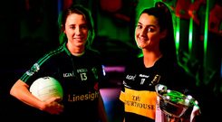 Mourneabbey's Eimear Meaney (right) with the Dolores Tyrrell Memorial Cup and captain of Foxrock-Cabinteely Amy Ring ahead of the All-Ireland Club Ladies Football final today at Parnell Park. Photo: David Fitzgerald/Sportsfile