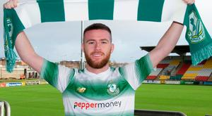 Jack Byrne shows his new colours after deciding to quit Kilmarnock and sign for Shamrock Rovers