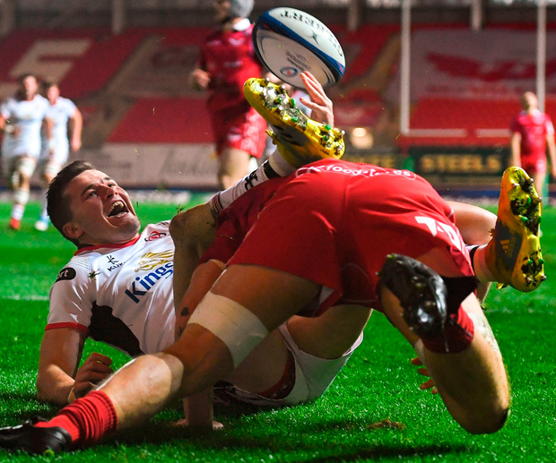 Jacob Stockdalecelebrates after scoring Ulster's first. Photo: Ramsey Cardy/Sportsfile