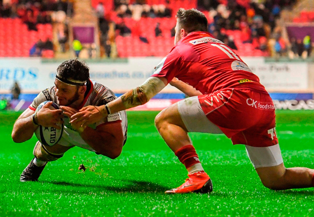 Marcell Coetzee dives over to score Ulster's fourth try against Scarlets at Parc Y Scarlets in Llanelli. Photo: Ramsey Cardy/Sportsfile