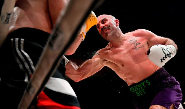 Gary 'Spike' O'Sullivan, right, and Gabor Gorbics during their middleweight contest at The Royal Theatre in Castlebar, Mayo. Photo by Stephen McCarthy/Sportsfile
