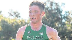 On the run: Jack O'Leary is plotting to bring home a medal from the European Cross Country event in Holland. Photo: Eóin Noonan/Sportsfile