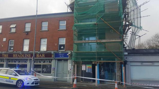Wind caused parts of the scaffolding to collapse Photo: Micheal O'Scannail