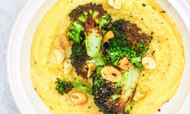Indy Power's polenta with charred broccoli and garlic