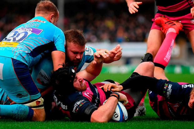 Ben Morgan of Gloucester Rugby scores a try during the Heineken Champions Cup match between Exeter Chiefs and Gloucester Rugby at Sandy Park on December 8, 2018 in Exeter, United Kingdom. (Photo by Alex Davidson/Getty Images)