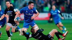 Leinster's James Ryan is tackled by Bath's Will Chudley during the Heineken European Champions Cup, pool one match at The Recreation Ground, Bath. PRESS ASSOCIATION Photo. Picture date: Saturday December 8, 2018. See PA story RUGBYU Bath. Photo credit should read: David Davies/PA Wire. RESTRICTIONS: Editorial use only. No commercial use.