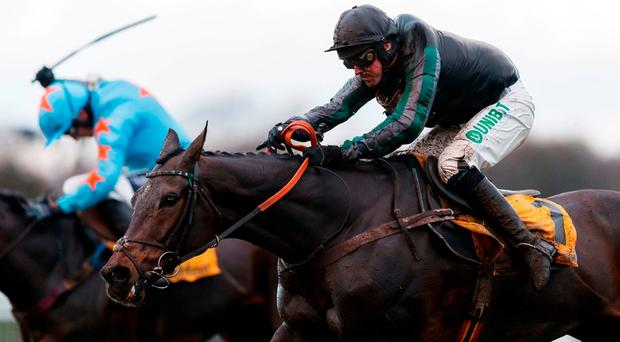 Watch: Altior remains unbeaten over obstacles after lowing Un De Sceaux's colours in Tingle Creek classic