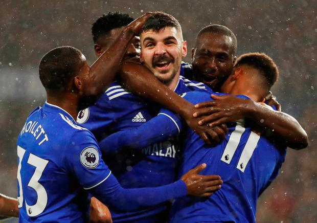 Cardiff City's Callum Paterson celebrates scoring their winner with team mates Action Images via Reuters/Andrew Boyers