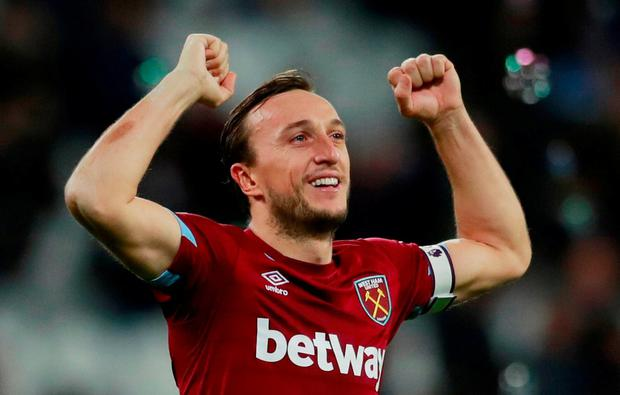 West Ham's Mark Noble celebrates after the match Action Images via Reuters/Andrew Couldridge